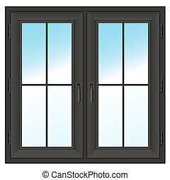 dark closed double window Vector illustration - dark farme...