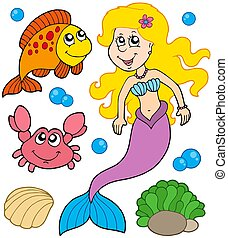Mermaid collection on white background - isolated...