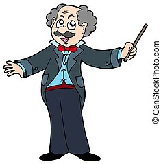 Music maestro on white background - isolated illustration.