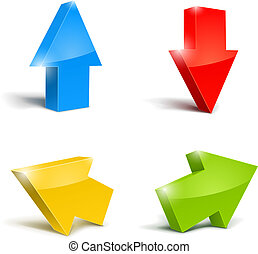 set of icons pointer arrows 3d vector illustration isolated...