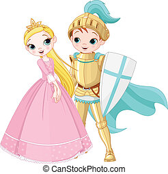 Knight and Princess - A cartoon illustration of a knight and...