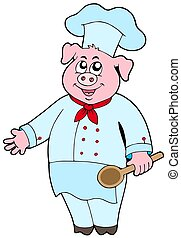 Pig chef on white background - isolated illustration