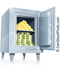 open metallic safe with gold and money