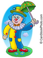Cartoon clown holding umbrella - color illustration