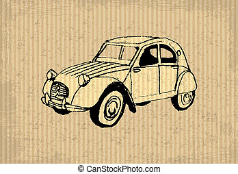 Oldtimer - Old-timer - citroen 2 cv 1964, illustration on a...