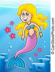 flores, sirena, mar