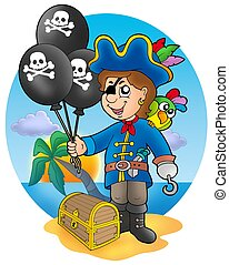 Pirate boy with balloons on beach - color illustration.