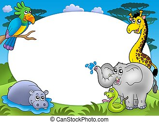 Round frame with African animals - color illustration.