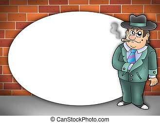 Round frame with cartoon gangster - color illustration