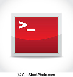 terminal - Terminal red icon, command line access -...