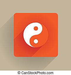 yin yang - Yin Yang icon in flat style