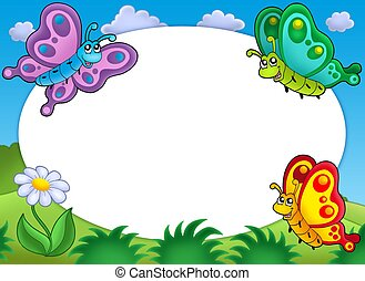 Round frame with cute butterflies - color illustration