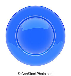 Isolated empty blue plate on white background