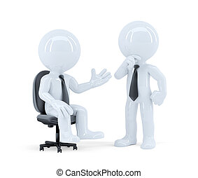 Business people having a meeting. Isolated. Contains clipping path.