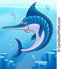 Sailfish swimming in sea