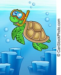 Sea turtle snorkel diver underwater - color illustration