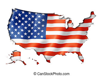 United States flag map - USA flag map, three dimensional...