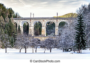 Ancient Viaduct in Lower Austria nearby Semmering
