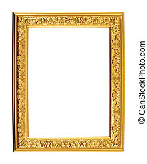 A4 size photo frame isolated - A4 size golden empty photo...