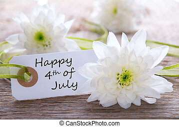 White Flowers with Happy 4th of July on a White Label
