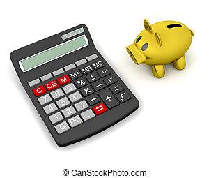 piggy bank and calculator - 3D render of a piggy bank and a...