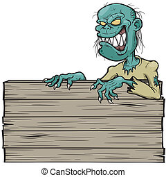 Zombie - Vector illustration of Cartoon zombie with wooden...