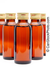 medicine bottles - brown medicine bottles on white...