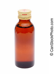 medicine bottle - brown medicine bottle on white background