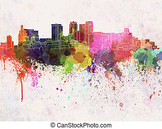Birmingham AL skyline in watercolor background