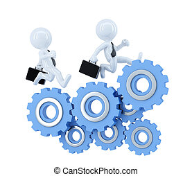 Business team running over cog wheel elements. Business concept. Isolated. Contains clipping path