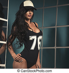 Attractive long haired beautiful woman with perfect body...
