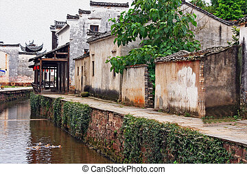 the canal of an ancient village in Anhui province, china,...