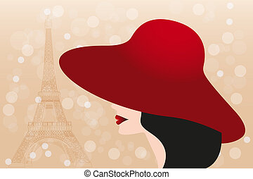 Red hat and black hair girl and Eiffel tower - Stock...