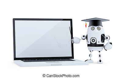 Student robot with pointer and laptop. Isolated. Contains clippig path of robot and laptop screen