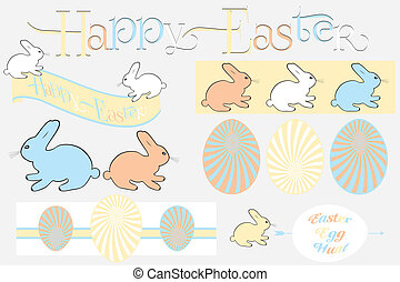 Happy easter design elements im retro look isolated - useful...