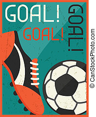 Goal Retro poster in flat design style