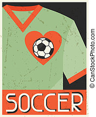 Soccer. Retro poster in flat design style.