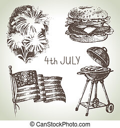 4th of July set Hand drawn illustrations of Independence Day...
