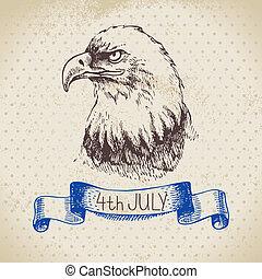 Bosquejo, vendimia, mano, Plano de fondo, 4, diseño, dibujado, julio,  América, día, independencia