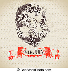 4th of July vintage background. Independence Day of America...