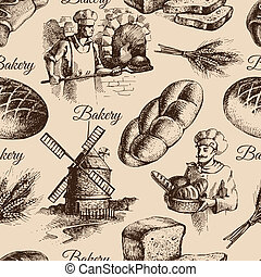 Bakery sketch seamless pattern. Vintage hand drawn...