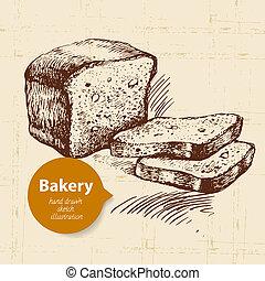 Bakery sketch background Vintage hand drawn illustration