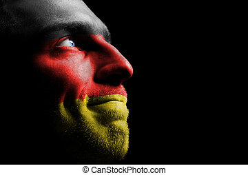 Portrait of a Man. - Sports fan from Germany. Isolated on...