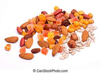 Dried fruit and nuts isolated on white