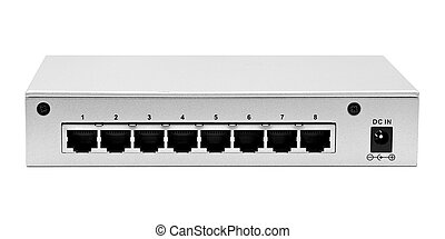 Lan switch back panel with 8 ports isolated on a white...