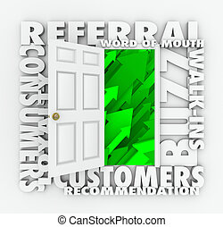 Referral Business Word of Mouth Customers Sales Growth Door...