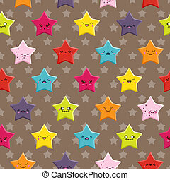 Kawaii Stars Seamless Background - Seamless background with...