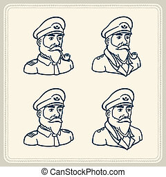 Illustrated bearded boat captain ic - Vintage illustration...