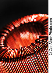 copper inductor - Macro detail of a copper inductor in a...