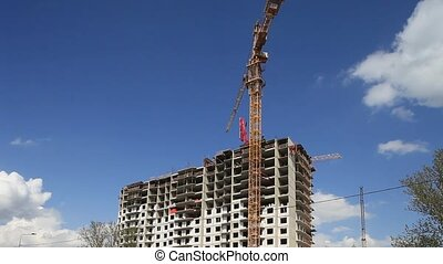 tower crane time lapse - Construction Site building...